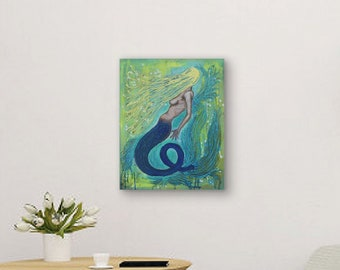 Sunlight Mermaid original painting by artist Rafi Perez Mixed Medium on Canvas 18X24