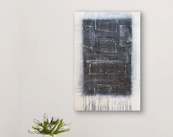 Abstract Art Black Patchwork original painting by artist Rafi Perez Mixed Medium on Canvas 24X36