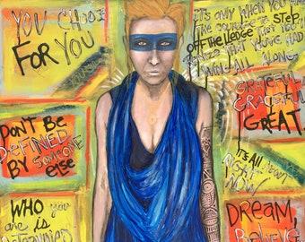 Superhero Me Series No 1 Art Original Painting By Artist Rafi Perez Mixed Medium On Canvas 30X30