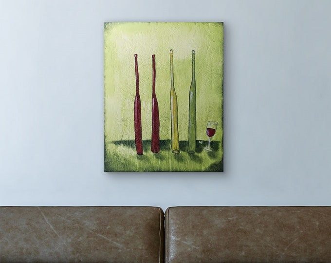 Four Wine Bottles Original Painting by Artist Rafi Perez Mixed Medium Textured on Canvas 24X30