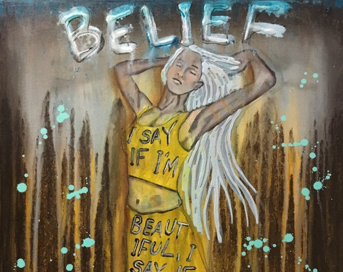 Belief Empowering Art Original Painting By Artist Rafi Perez Mixed Medium On Canvas 18X24