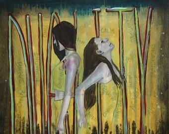 Duality Empowering Art Original Painting By Artist Rafi Perez Mixed Medium On Canvas 18X24