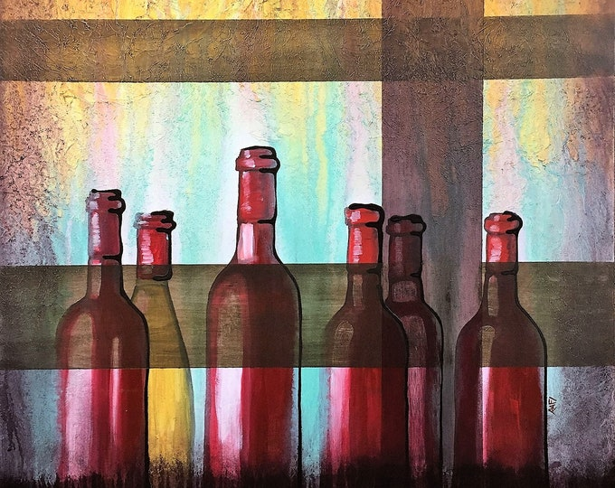 Red Wine Bottles Original Painting by Artist Rafi Perez Mixed Medium Textured on Canvas 30X30
