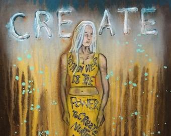 Create Empowering Art Original Painting By Artist Rafi Perez Mixed Medium On Canvas 18X24
