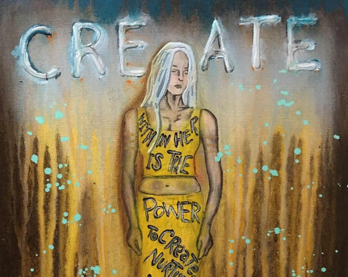 Create Empowering Art Original Painting By Artist Rafi Perez Mixed Medium On Canvas 18X24