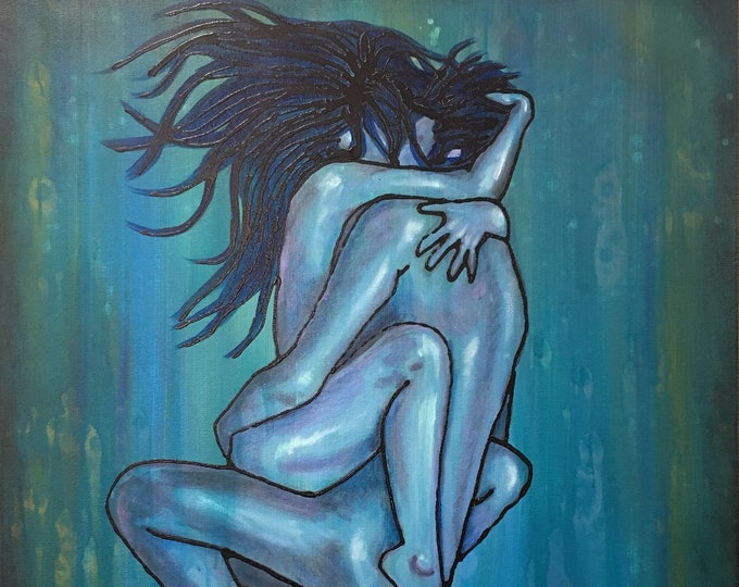 Lovers Original Painting By Artist Rafi Perez Mixed Medium on Canvas 24X30
