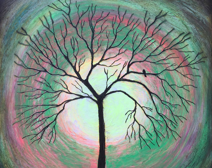 Glow Tree Bird - Glow In The Dark - Textured Original Painting By Rafi Perez Mixed Medium on Canvas 30X30