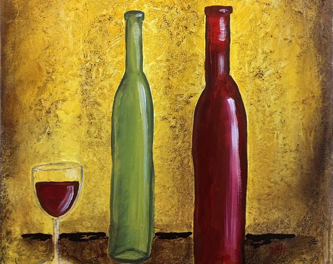 Red And White Wine Original Painting by Artist Rafi Perez Mixed Medium Textured on Canvas 18X24