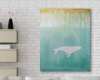 White Whale 2 Original Wall Art by Artist Rafi Perez Mixed Medium on Canvas 47X38