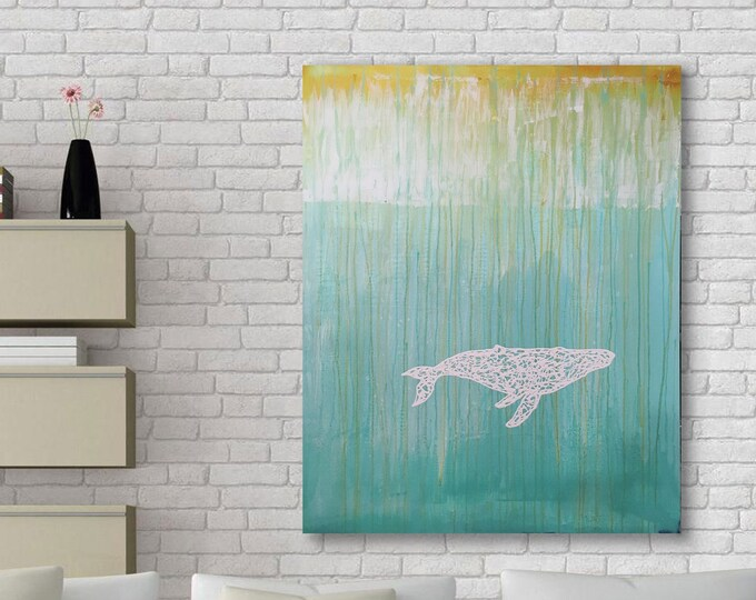 White Whale 2 Original Wall Art by Artist Rafi Perez Mixed Medium on Canvas 47X38