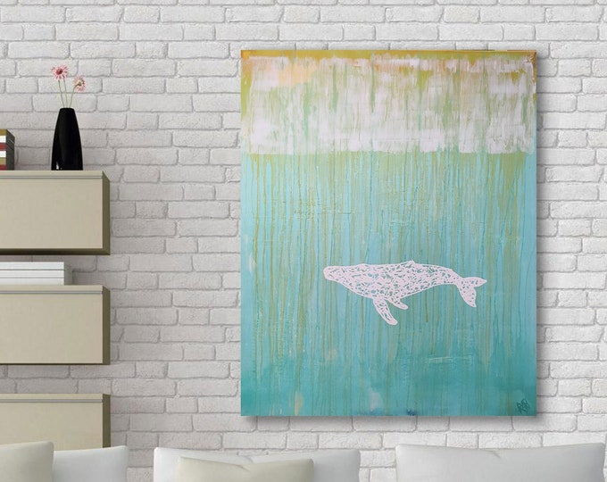 White Whale 1 Original Wall Art by Artist Rafi Perez Mixed Medium on Canvas 47X38