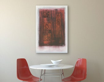 Abstract Art Red Patchwork original painting by artist Rafi Perez Mixed Medium on Canvas 24X36