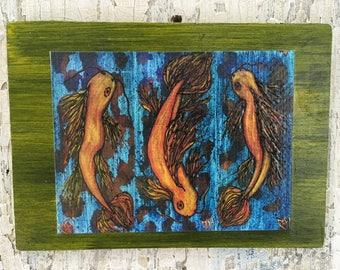 Thrice The Joy Of Koi Wall Art by artist Rafi Perez Original Artist Enhanced Print On Wood