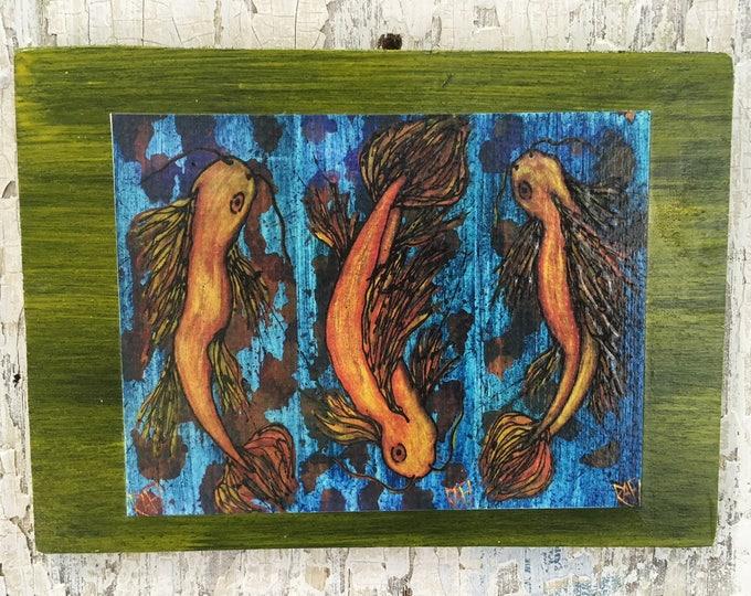 Thrice The Joy Of Koi Rustic Wall Art By Artist Rafi Perez Original Textured Artist Enhanced Print On Wood