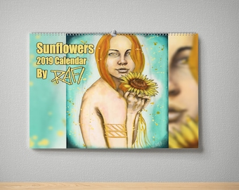 2019 Sunflowers Wall Art Limited Edition Calendar By Artist Rafi Perez - Signed By The Artist