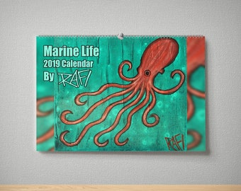 2019 Marine Creatures Wall Art Limited Edition Calendar By Artist Rafi Perez - Signed By The Artist