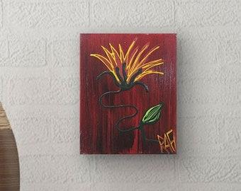 Wild Flower Painting Textured Original Painting by artist Rafi Perez Mixed Medium on Canvas 8X10