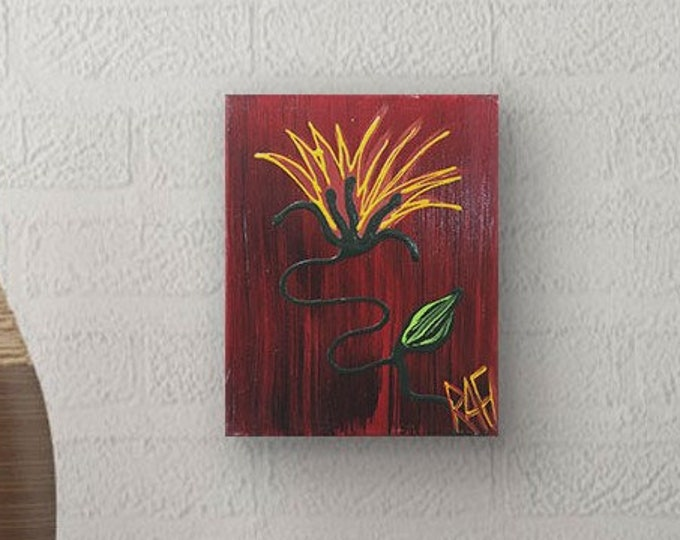Wild Flower Painting Textured Original Painting by artist Rafi Perez Mixed Medium on Canvas 8X10
