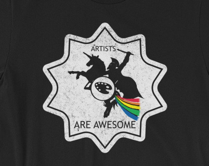 Artists Are Awesome Spartan Riding A Unicorn Light Short-Sleeve Unisex T-Shirt Design By Rafi Perez