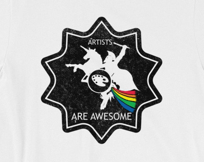 Artists Are Awesome Spartan Riding A Unicorn Dark Short-Sleeve Unisex T-Shirt Design By Rafi Perez