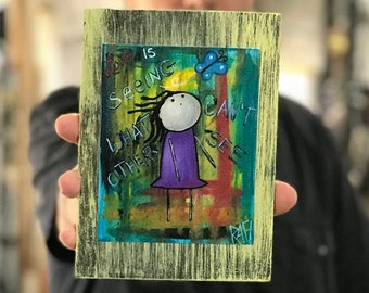 Love Is Seeing What Others Can't See Rustic Wall Art By Artist Rafi Perez Original Textured Artist Enhanced Print On Wood
