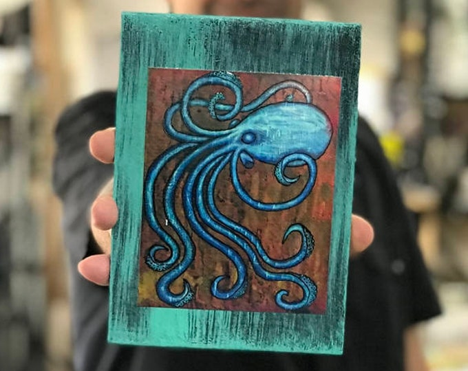Vintage Octopus Rustic Wall Art By Artist Rafi Perez Original Textured Artist Enhanced Print On Wood