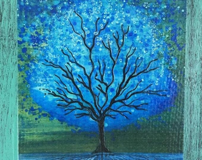 Blue Magic Tree Wall Art by artist Rafi Perez Original Artist Enhanced Print On Wood