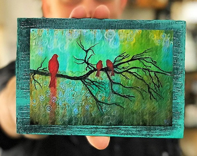 Three Little Red Birds Rustic Wall Art By Artist Rafi Perez Original Textured Artist Enhanced Print On Wood