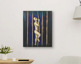 Cage Of Light Original Painting Art By Artist Rafi Perez Mixed Medium on Canvas 24X30