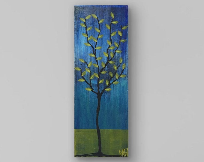 Olive Branch No. 1 Textured Original Painting By Artist Rafi Perez Mixed Medium on Canvas 8X24