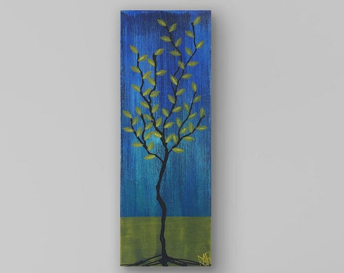Olive Branch No. 3 Textured Original Painting By Artist Rafi Perez Mixed Medium on Canvas 8X24