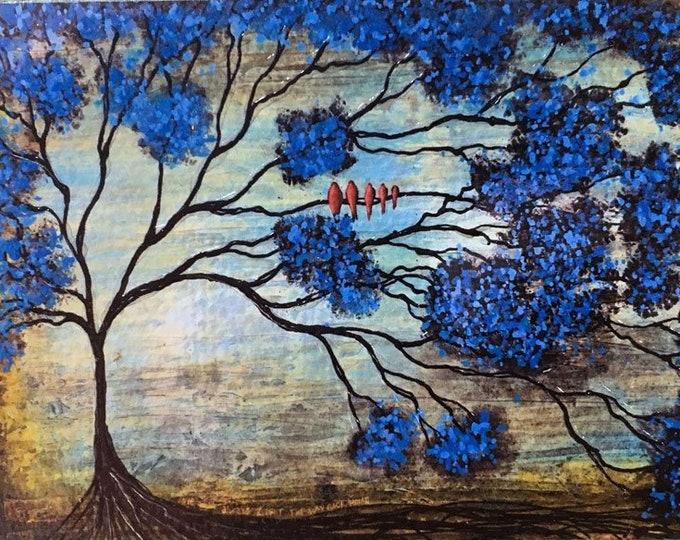 Family Tree Rustic Wall Art By Artist Rafi Perez Original Textured Artist Enhanced Print On Wood