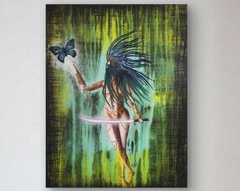 Butterfly Warrior Original Painting Art By Artist Rafi Perez Mixed Medium on Canvas 18X24