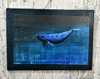 Unicorn Of The Sea Wall Art by Artist Rafi Perez Fine Art Signed Print On Wood
