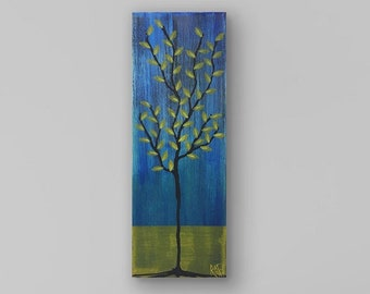 Olive Branch No. 2 Textured Original Painting By Artist Rafi Perez Mixed Medium on Canvas 8X24