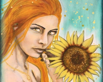 Sultry Golden Sunflower Original Painting by artist Rafi Perez Mixed Medium and Gold Leaf on Canvas 18X24