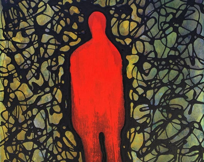 Shadow Figure Thought Form Abstract - Mixed Media On Reclaimed Wood  By Rafi