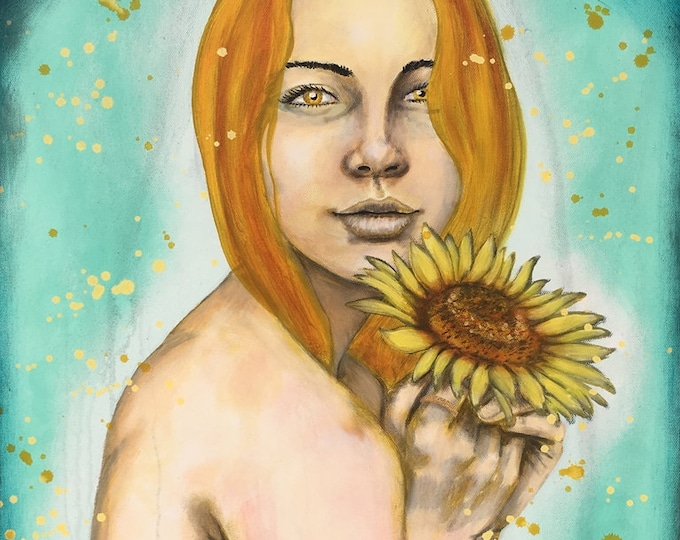 Playful Golden Sunflower Original Painting by artist Rafi Perez Mixed Medium and Gold Leaf on Canvas 18X24