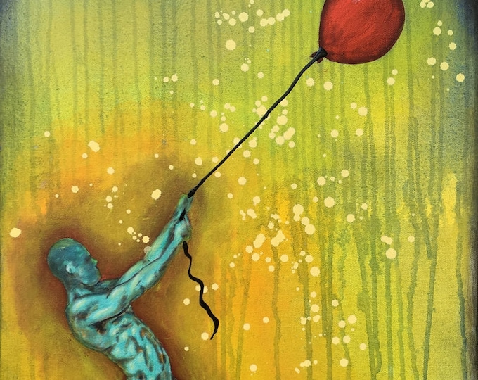 The Substance Of The Real Original Painting Balloon Man by artist Rafi Perez Mixed Medium on Canvas 18X24