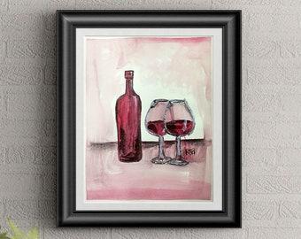 Red Wine Wall Art By Artist Rafi Perez Original Wine Painting On Paper 9X12