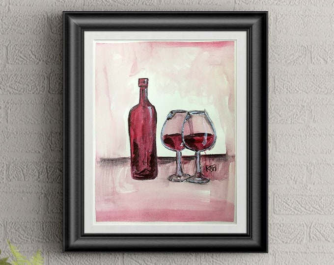 Red Wine Wall Art By Artist Rafi Perez Original Wine Painting On Paper 9X12