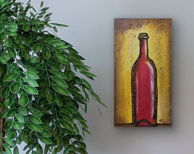 Red Bottle Wine Original Painting by Artist Rafi Perez Mixed Medium Textured on Canvas 10X20
