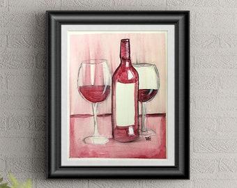 Red Wine #3 Wall Art By Artist Rafi Perez Original Wine Painting On Paper 9X12