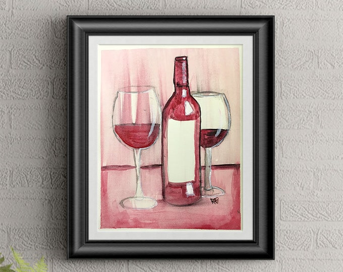 Red Wine #3 Wall Art By Artist Rafi Perez Original Wine Painting On Paper 9X12