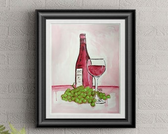 Red Wine #2 Wall Art By Artist Rafi Perez Original Wine Painting On Paper 9X12