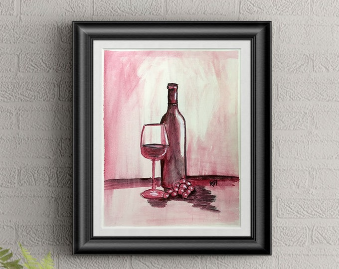 Red Wine #4 Wall Art By Artist Rafi Perez Original Wine Painting On Paper 9X12