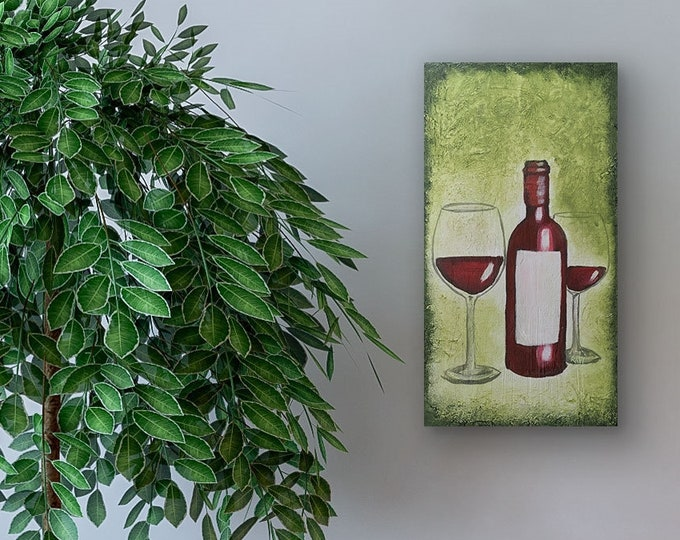 Red Wine Green Original Painting by Artist Rafi Perez Mixed Medium Textured on Canvas 10X20