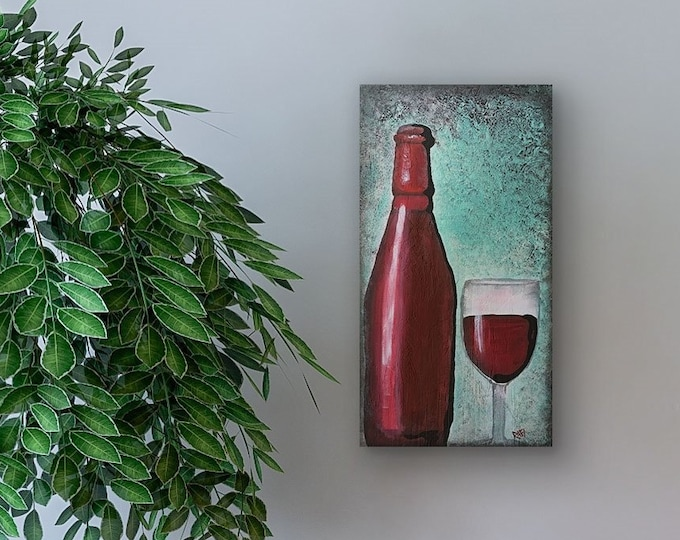 Red Wine Blue Original Painting by Artist Rafi Perez Mixed Medium Textured on Canvas 10X20