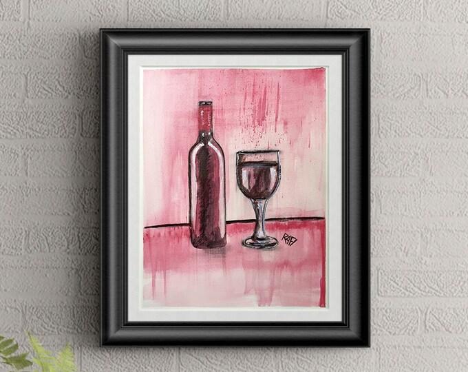 Red Wine #5 Wall Art By Artist Rafi Perez Original Wine Painting On Paper 9X12