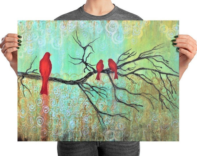 Three Red Birds On A Branch Photo Paper Poster Designed By Rafi Perez